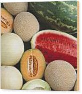 Agriculture - Mixed Melons, Watermelon Wood Print