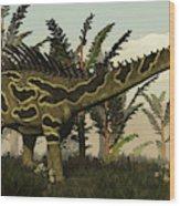 Agustinia Dinosaur Walking Amongst Wood Print