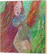Aiden The Girl On Fire Wood Print by The Art With A Heart By Charlotte Phillips