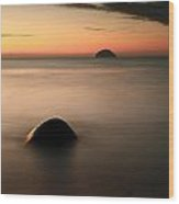 Ailsa Craig Sunset Wood Print