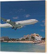 Air France At St. Maarten Wood Print