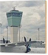 Air Traffic Control Tower Wood Print by Sami Sarkis