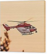 Airborne Eurocopter Bk 117 -  Rescue Helicopter Wood Print