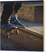 Airborne Skateboarder Wood Print