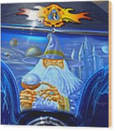 Airbrush Magic - Wizard Merlin On A Motorcycle Wood Print by Christine Till