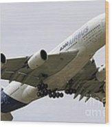 Airbus A380 In Flight Wood Print
