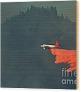 Aircraft Releasing Fire Retardant Wood Print