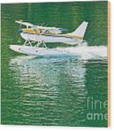Aircraft Seaplane Taking Off On Calm Water Of Lake Wood Print