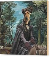 Airedale Terrier Art Canvas Print - Forest Landscape With Deer Hunting And Noble Lady Wood Print