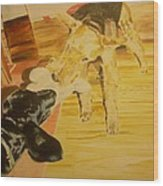 Airedale Vs Large Poodle Wood Print