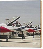Airmen Conduct Preflight Preparations Wood Print