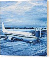 Airplane At Aerobridge Wood Print