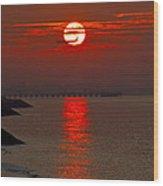Airplane Flying At Sunrise Wood Print