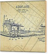 Airplane Patent Drawing From 1921-vintage Wood Print
