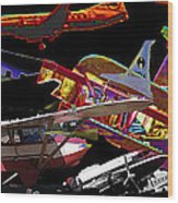 Airplanes Collage  Wood Print