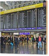 Airport Departure Board Frankfurt Germany Wood Print