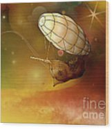 Airship Ethereal Journey Wood Print by Bedros Awak