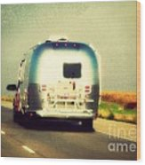 Airstream Rolling Down The Highway Wood Print