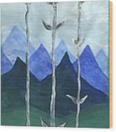 Airy Three Of Wands Wood Print