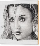 Aishwarya Rai Wood Print by Rosalinda Markle