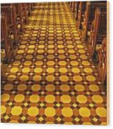 Church Aisle Patterned Floor Wood Print