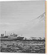 Akademik Sergey Vavilov Russian Research Ship In Port Lockroy As Brash Sea Ice Forming Winter Closin Wood Print