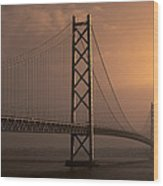 Akashi Kaikyo Bridge Osaka Bay Wood Print