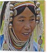 Akha Tribal Woman - Kengtung Burma Wood Print