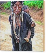 Akha Tribe Paint Filter Wood Print