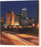 D1u-140 Akron Ohio Night Skyline Photo Wood Print