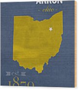 Akron Zips Ohio College Town State Map Poster Series No 007 Wood Print