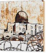 Al-asqa Mosque Palsetine- Mustard Wood Print by Salwa  Najm