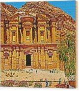 Al-dayr Or The Monastery In Petra-jordan  Wood Print