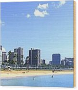 Ala Moana Beach Park And Diamond Head Wood Print