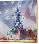 Battleship Alabama And Flag Wood Print