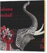 Alabama Football Roll Tide Wood Print by Kathy Clark