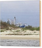 Alabama - Gulf Of Mexico Shrimper - Beautiful Day For Fishing Wood Print