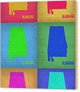 Alabama Pop Art Map 1 Wood Print