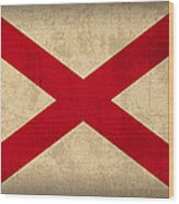 Alabama State Flag Art On Worn Canvas Wood Print by Design Turnpike