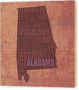 Alabama Word Art State Map On Canvas Wood Print
