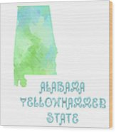 Alabama - Yellowhammer State - Map - State Phrase - Geology Wood Print by Andee Design