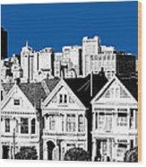 Alamo Square -  Royal Blue Wood Print