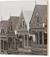 Alamo Square - Victorian Painted Ladies 2009 Wood Print