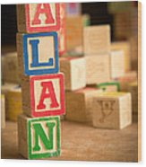 Alan - Alphabet Blocks Wood Print