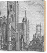 Alarming Morning In Ghent. The Left Part Of The Triptych - The Age Of Cathedrals Wood Print