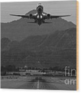 Alaska Airlines Palm Springs Takeoff Wood Print by John Daly