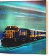 Alaska Aurora Train  # Da 080 Wood Print