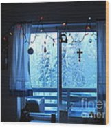 Alaska Christmas Window Decorations And Lights Viewing Sunlit Illuminated Snowy Forest Trees Wood Print by Elizabeth Stedman
