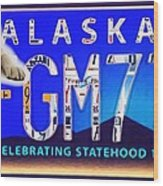 Alaska License Plate Wood Print