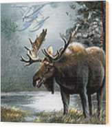 Alaska Moose With Floatplane Wood Print by Regina Femrite